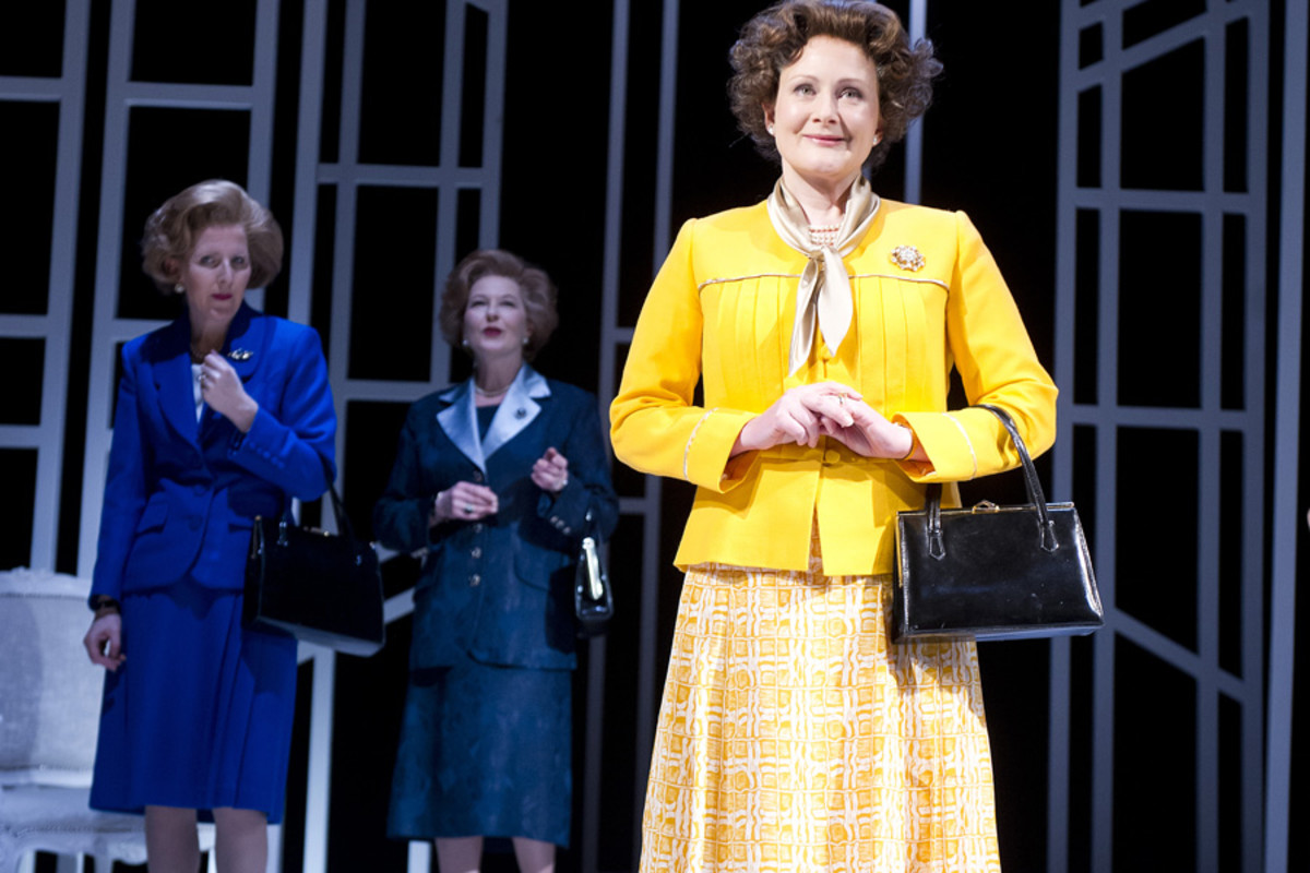 Fenella Woolgar, Stella Gonet and Lucy Robinson in Handbagged at the Vaudeville Theatre (Photo: Tristram Kenton)