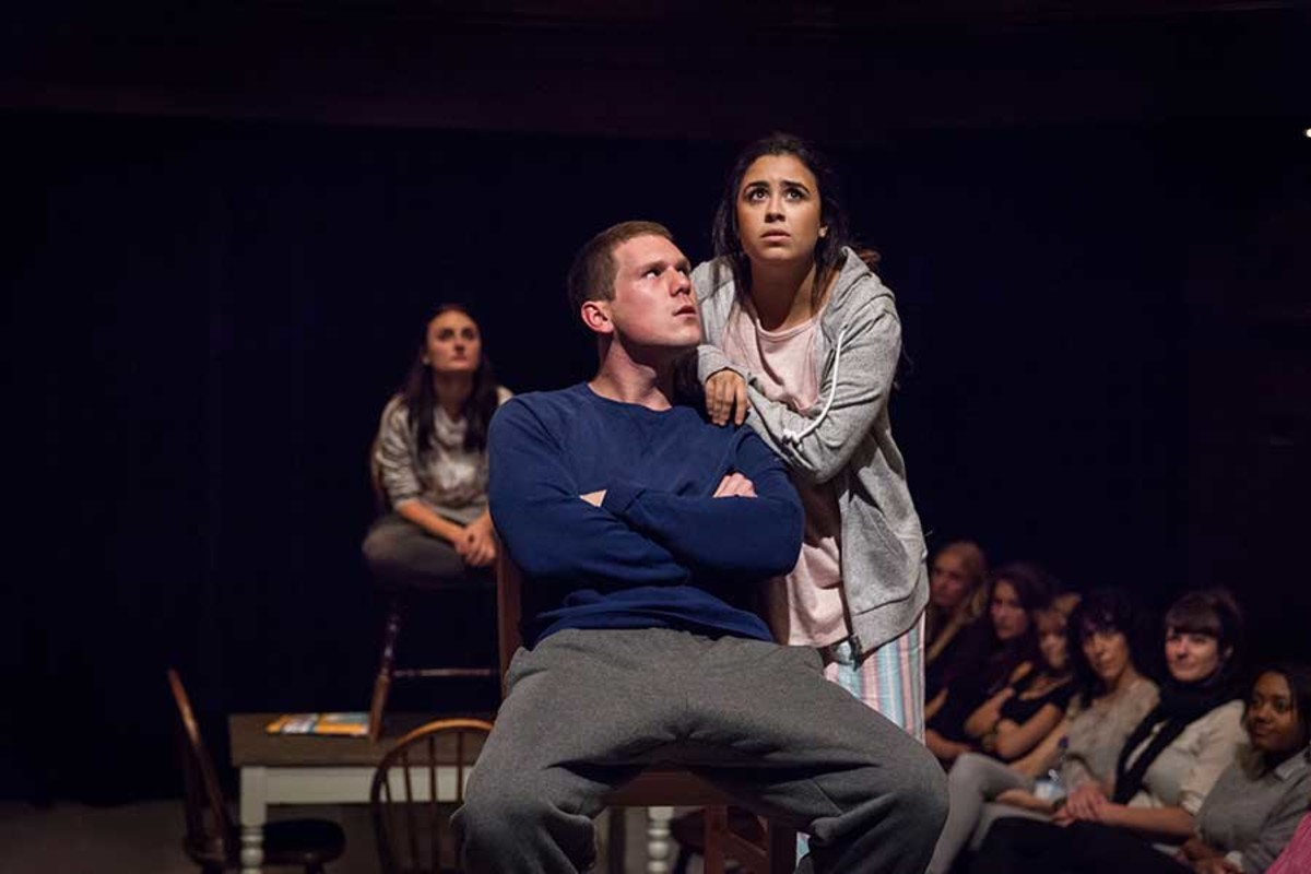 Laura Elsworthy, David Walmsley and Jessica Lester star in Our Town, playing at the Almeida Theatre (Photo: Marc Brenner)