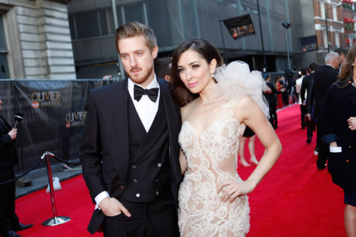 Presenter Arthur Darvill and Best Actress in a Musical winner Zrinka Cvitešić walk the red carpet at the Olivier Awards 2014 with MasterCard (Photo: Pamela Raith)