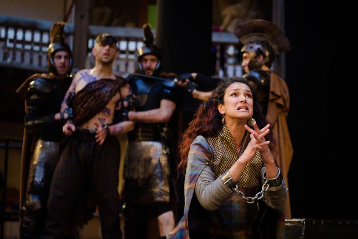 Indira Varma in Titus Andronicus at Shakespeare's Globe (Photo: Simon Kane)
