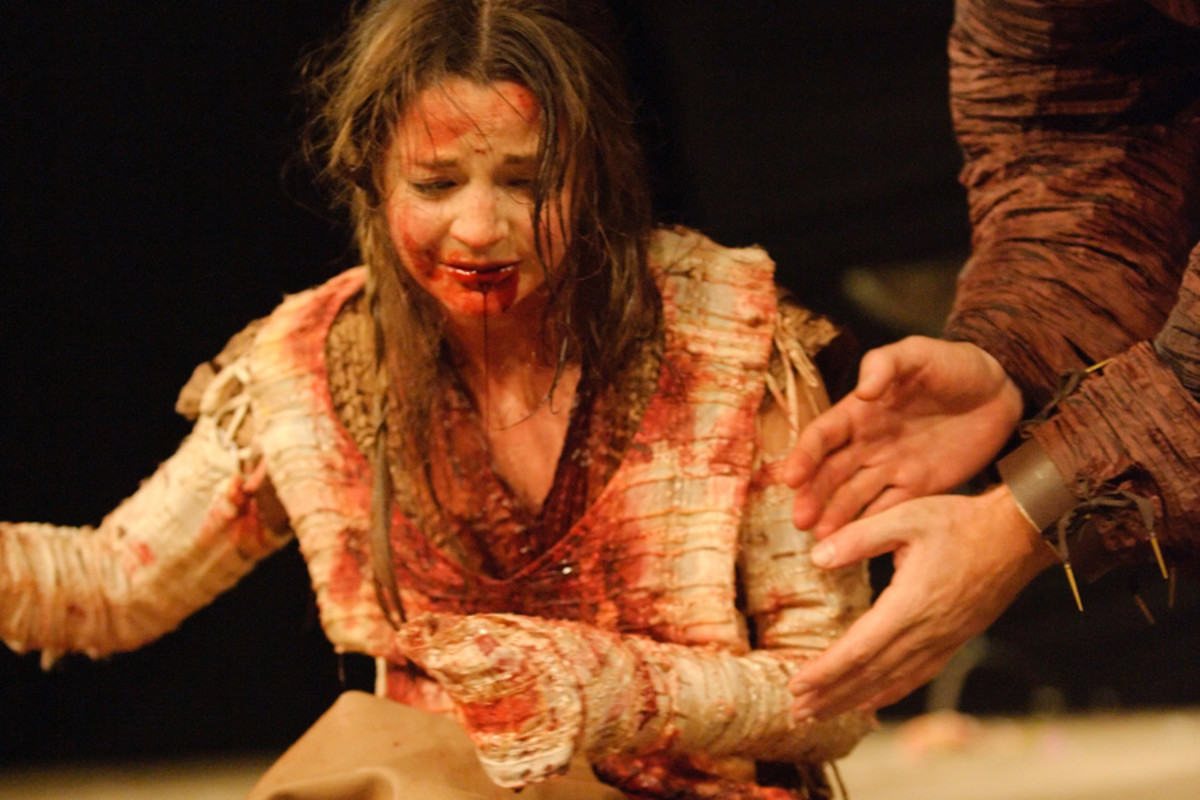 Flora Spencer-Longhurst in Titus Andronicus at Shakespeare's Globe (Photo: Simon Kane)