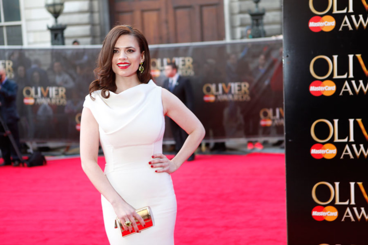 Best Actress nominee Hayley Atwell walks the red carpet at the Olivier Awards 2014 with MasterCard (Photo: Pamela Raith)