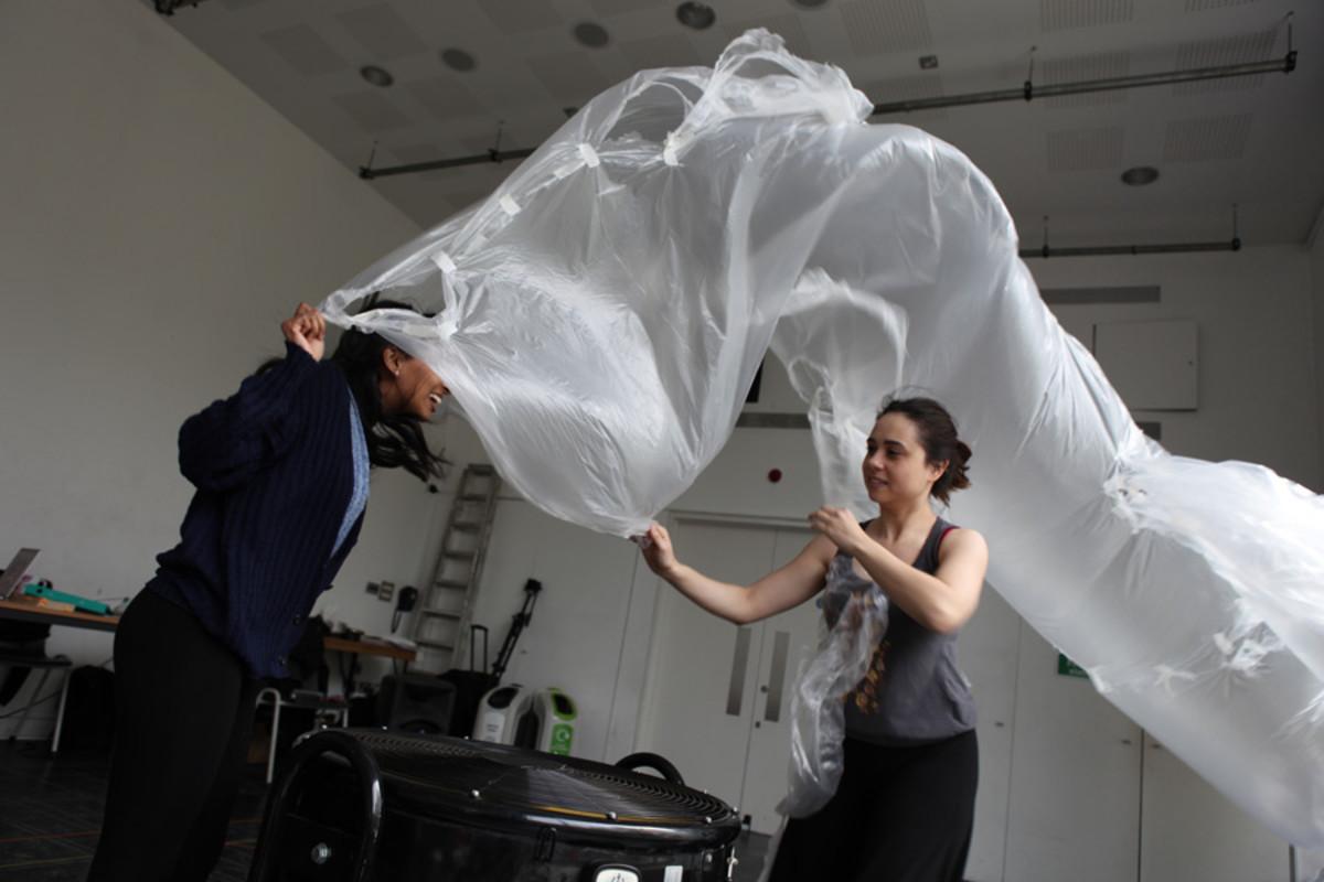 Keshini Misha and Samantha Beart in rehearsal for 1001 Nights (Photo: Zbigniew Kotkiewicz)