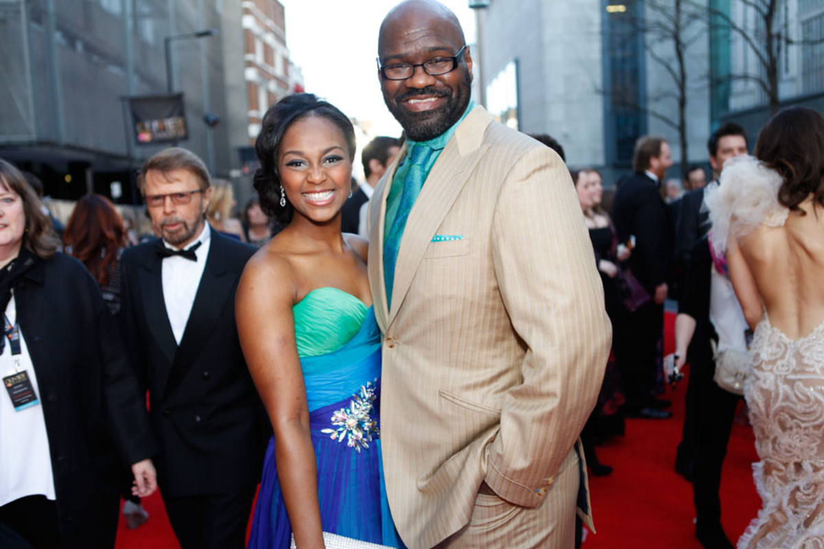 The Book Of Mormon's Alexia Khadime and Chris Jarman walk the red carpet at the Olivier Awards 2014 with MasterCard (Photo: Pamela Raith)