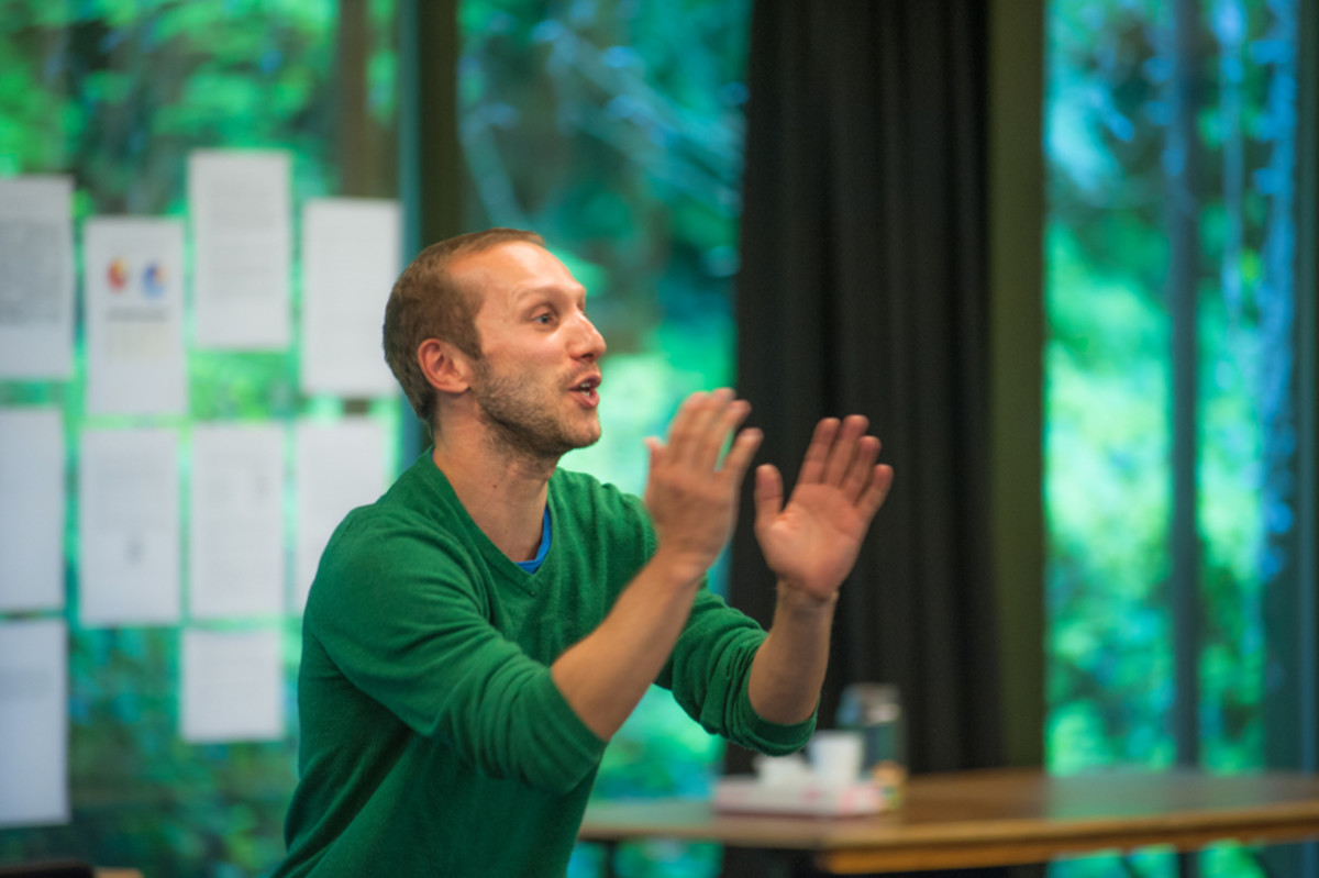 Matt Cross in rehearsals for All My Sons at the Regent's Park Open Air Theatre (Photo: Tommy Ga-Ken Wan)