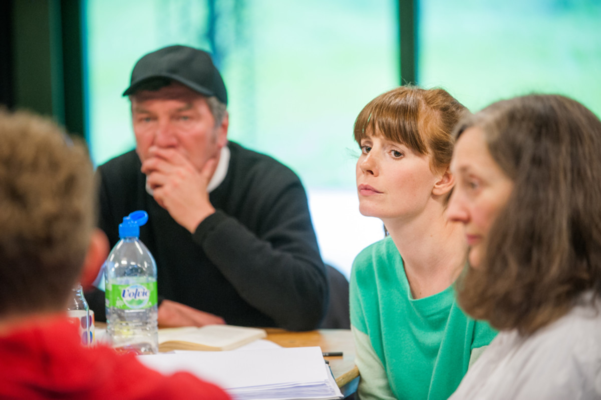 Tom Mannion, Amy Nuttall and Brid Brennan in rehearsals for All My Sons at the Regent's Park Open Air Theatre (Photo: Tommy Ga-Ken Wan)