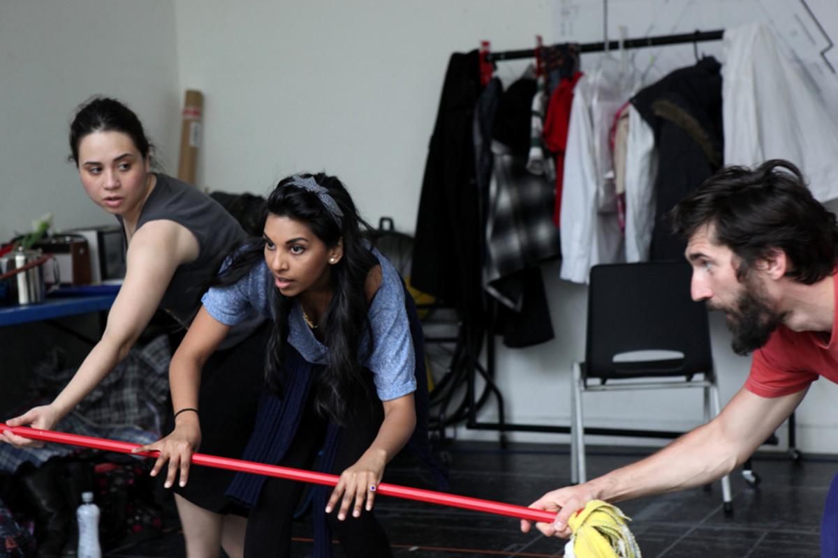 Samantha Beart, Keshini Misha and Krystian Godlewski in rehearsal for 1001 Nights (Photo: Zbigniew Kotkiewicz)