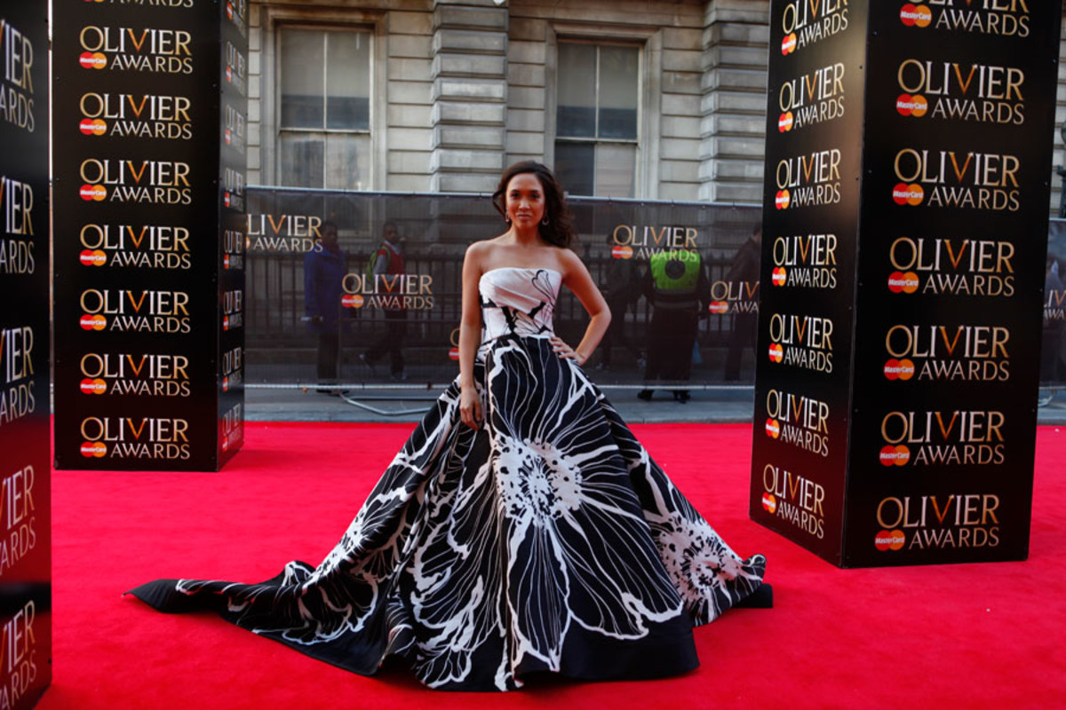 ITV Stage presenter Myleene Klass walks the red carpet at the Olivier Awards 2014 with MasterCard (Photo: Pamela Raith)