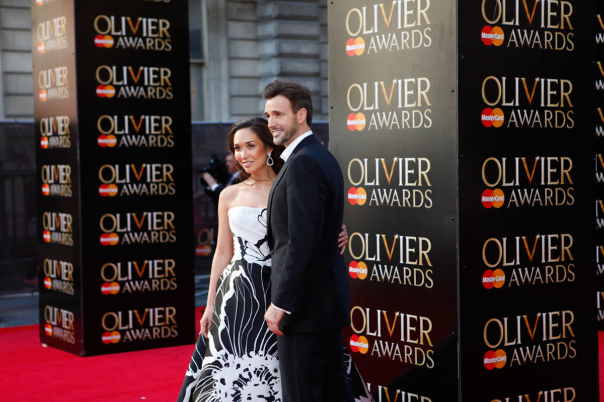 ITV Stage presenters Myleene Klass and Michael Xavier walk the red carpet at the Olivier Awards 2014 with MasterCard (Photo: Pamela Raith)