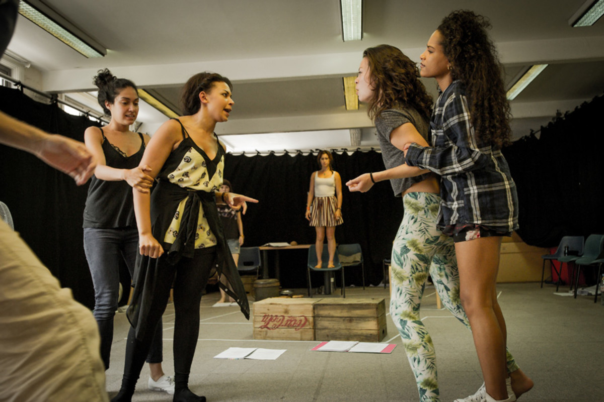 The cast of Pitcairn in rehearsals
