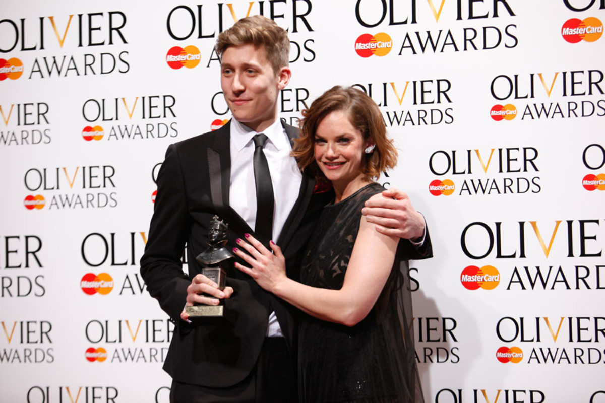 Harry Mackrill, collecting the Outstanding Achievement in an Affiliate Theatre Award, with presenter Ruth Wilson (Photo: Pamela Raith)