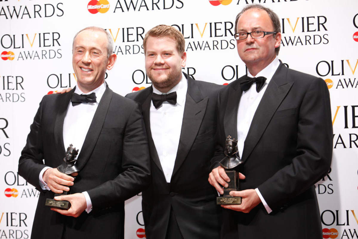 Nicholas Hytner and Nick Starr, winners of the Special Award, with presenter James Corden (Photo: Pamela Raith)