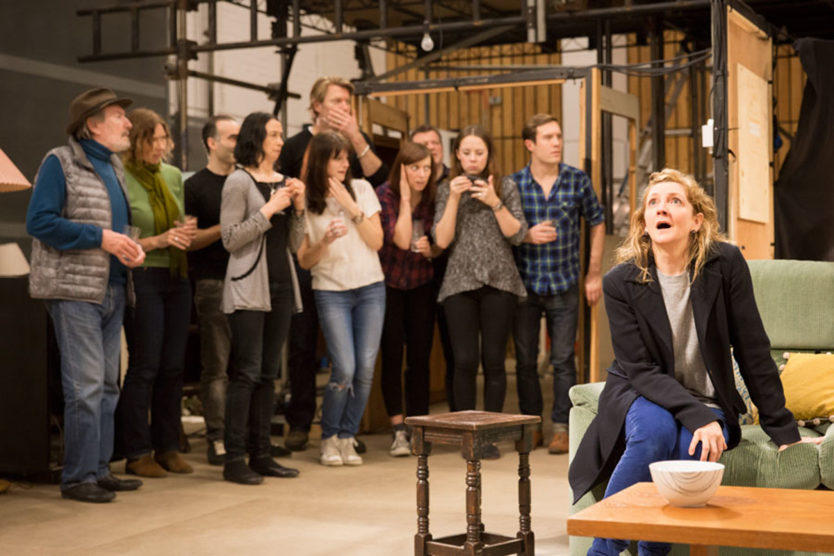 The cast rehearse A Small Family Business, playing at the National Theatre (Photo: Johan Persson)