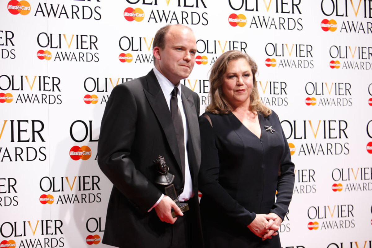Rory Kinnear, winner of Best Actor, with presenter Kathleen Turner (Photo: Pamela Raith)