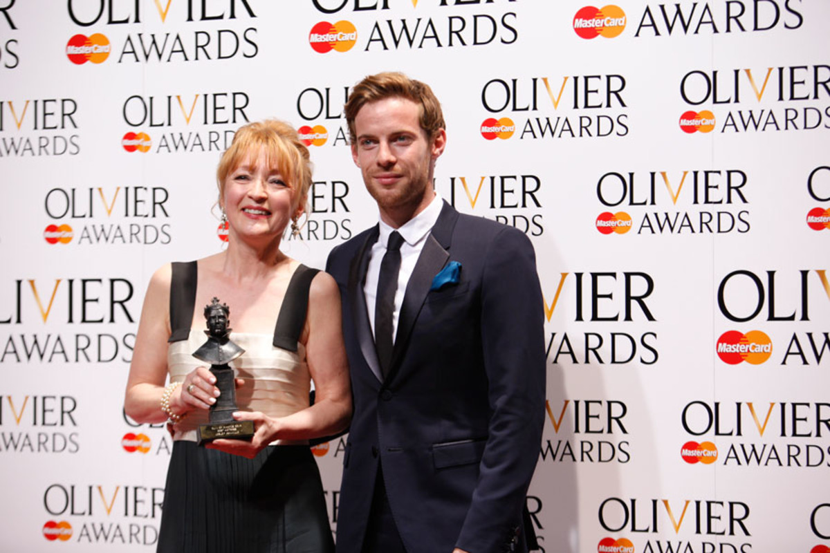 Lesley Manville, winner of Best Actress, with presenter Luke Treadaway (Photo: Pamela Raith)