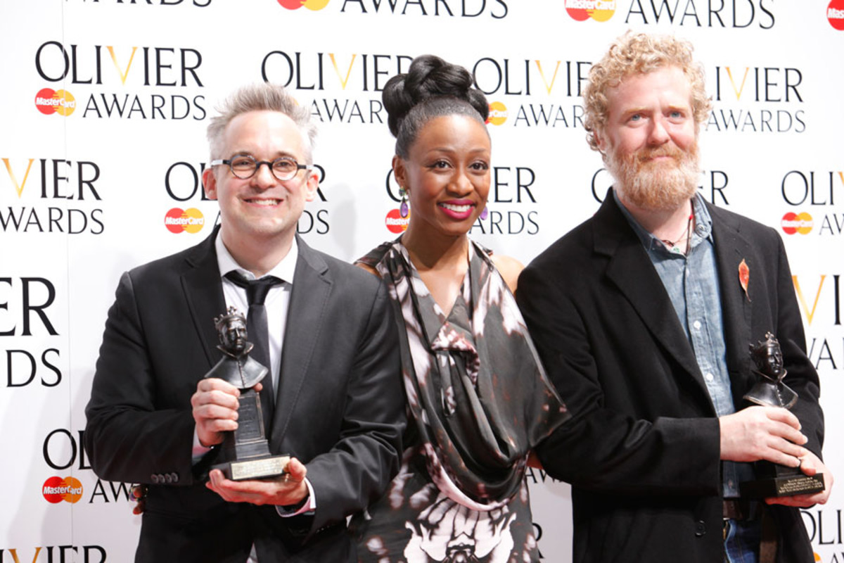 Martin Lowe and Glen Hansard, winners of the Autograph Sound Award for Outstanding Achievement in Music, with presenter Beverley Knight (Photo: Pamela Raith)