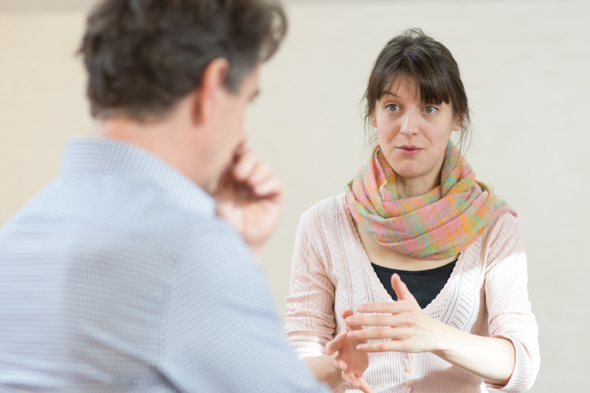 Alexander Hanson and director Blanche McIntyre in rehearsal for Accolade at the St James Theatre (Photo: Ben Broomfield)