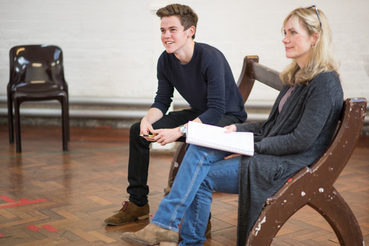 Sam Clemmett and Abigail Cruttenden in rehearsal for Accolade at the St James Theatre (Photo: Ben Broomfield)