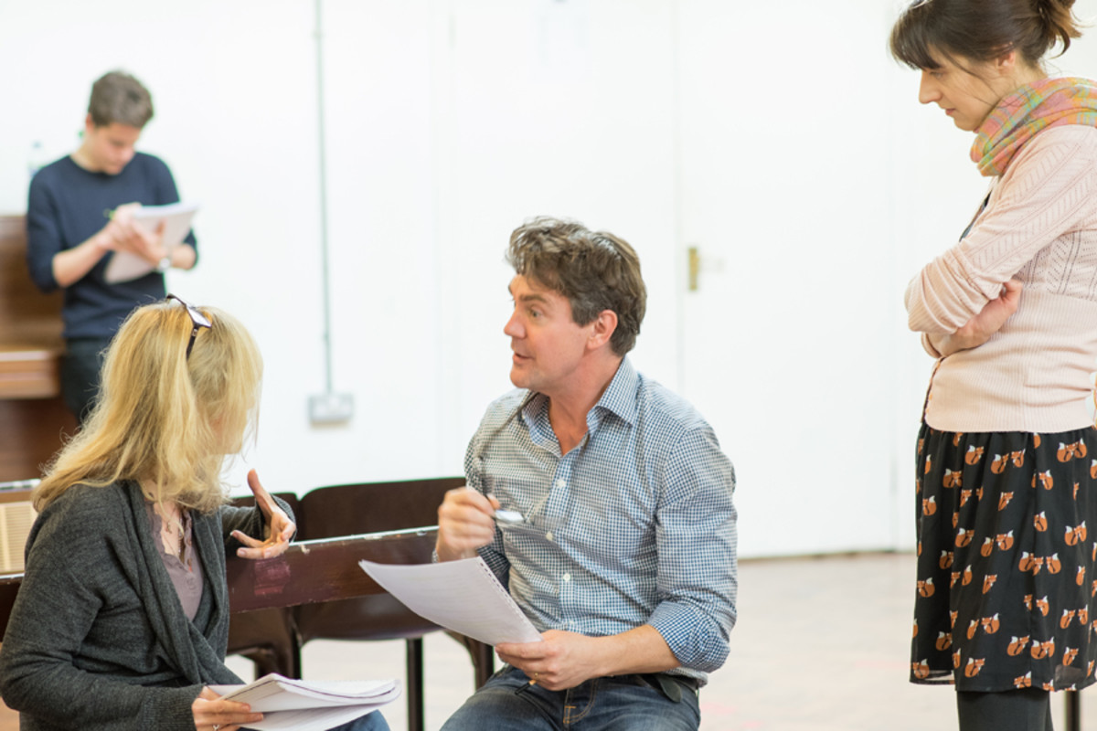 Abigail Cruttenden, Alexander Hanson and director Blanche McIntyre in rehearsal for Accolade at the St James Theatre (Photo: Ben Broomfield)