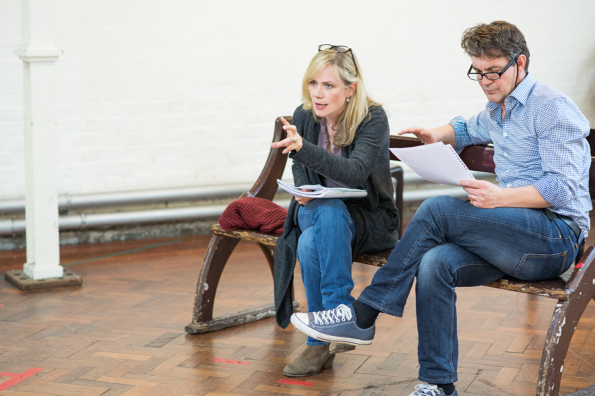 Abigail Cruttenden and Alexander Hanson in reharsal for Accolade at the St James Theatre (Photo: Ben Broomfield)
