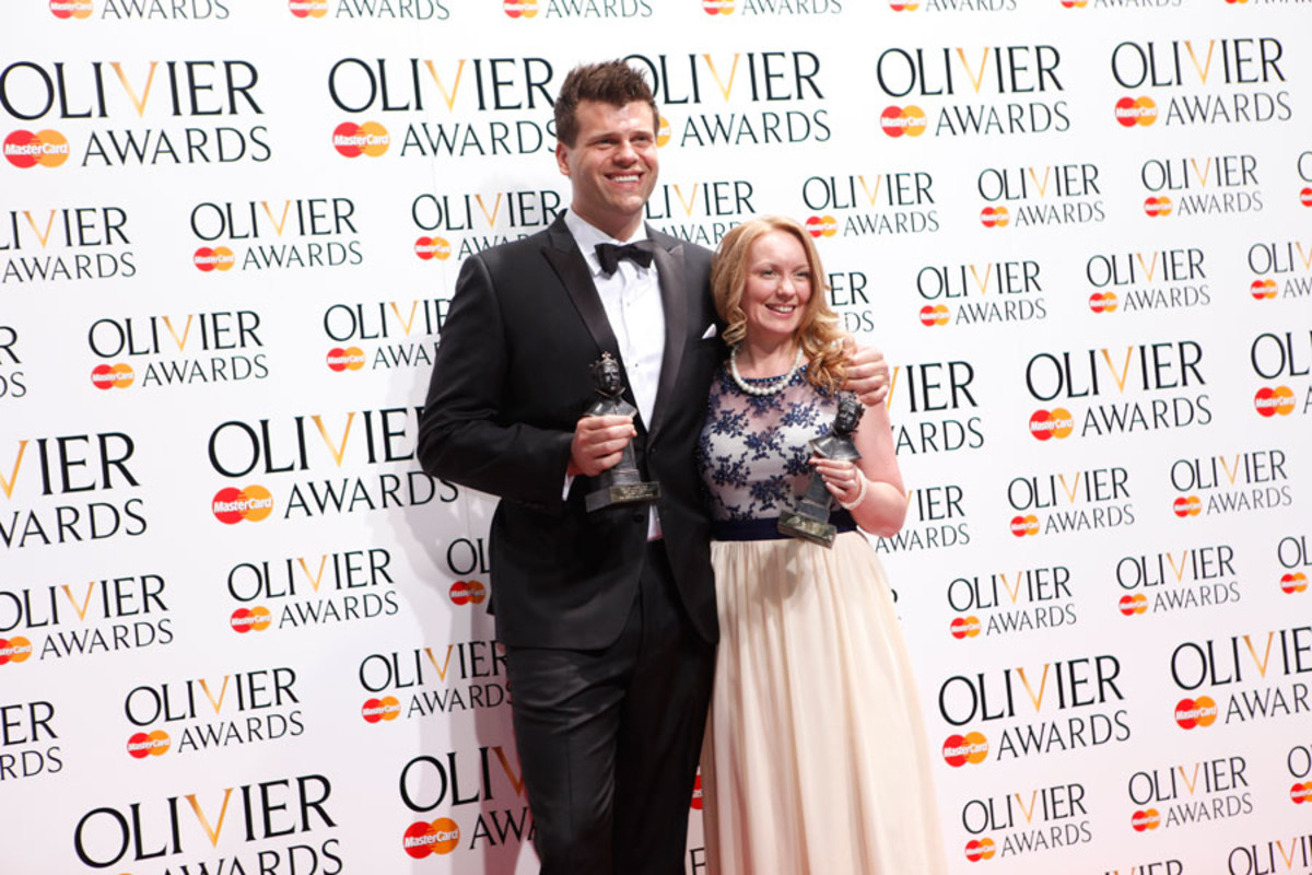 Gareth Owen (Merrily We Roll Along) and Carolyn Downing (Chimerica), winners of the two Sound Design Awards (Photo: Pamela Raith)