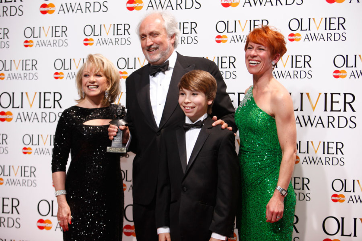 Nick Allott, collecting the BBC Radio 2 Audience Award for Les Misérables, with presenters Elaine Paige, Bradley Perret and Anna-Jane Casey (Photo: Pamela Raith)