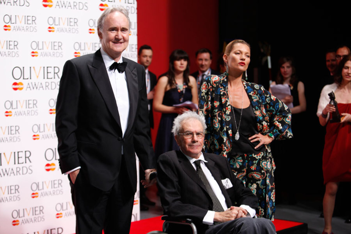 Michael White, winner of the Special Award, with presenters Nigel Planer and Kate Moss (Photo: Pamela Raith)