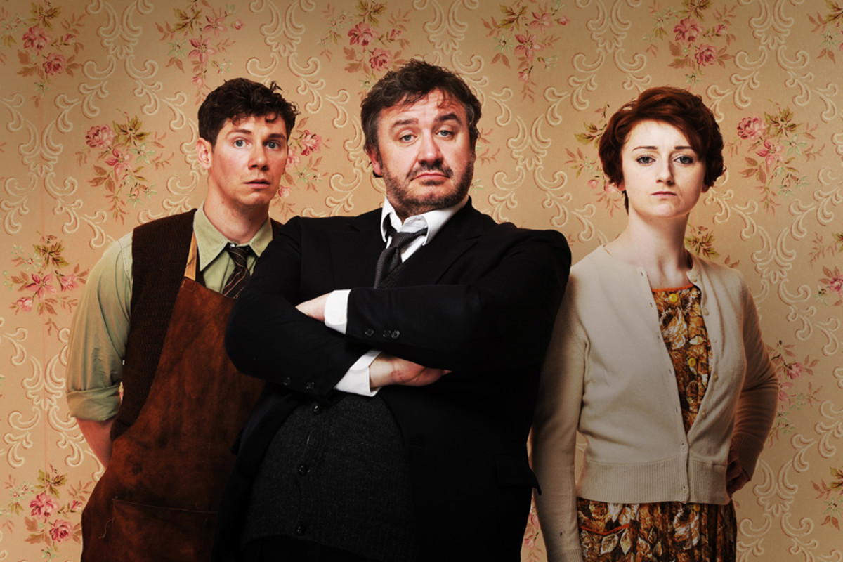 Hobson's Choice's Karl Davies, Mark Benton and Jodie McNee (Photo:  Hugo Glendinning)