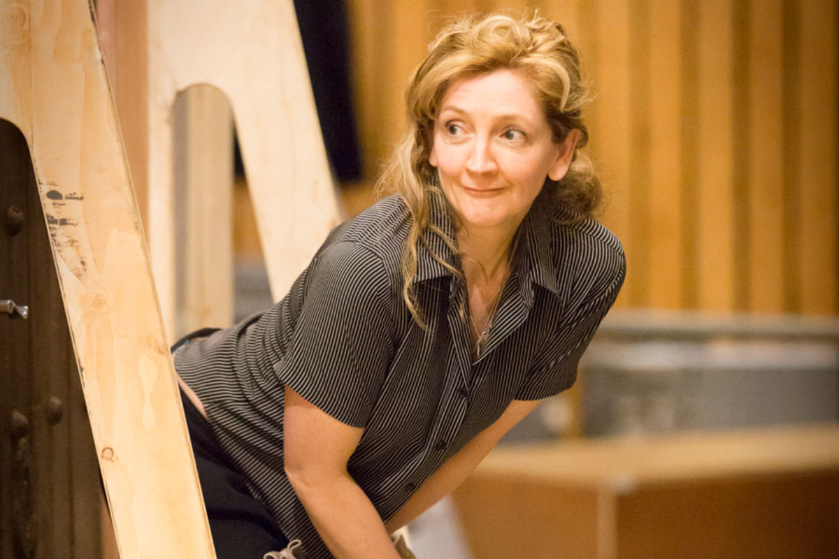 Debra Gillett rehearses A Small Family Business, playing at the National Theatre (Photo: Johan Persson)
