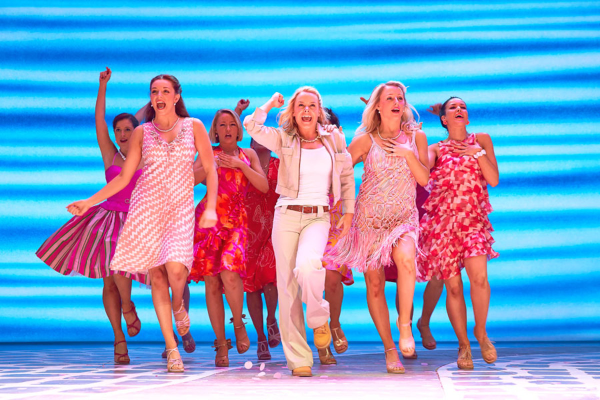 2014: Jessica Daley, Emma Crossley, Stephanie Clift and the London cast star in Mamma Mia! (Photo: Brinkhoff & Mögenburg)