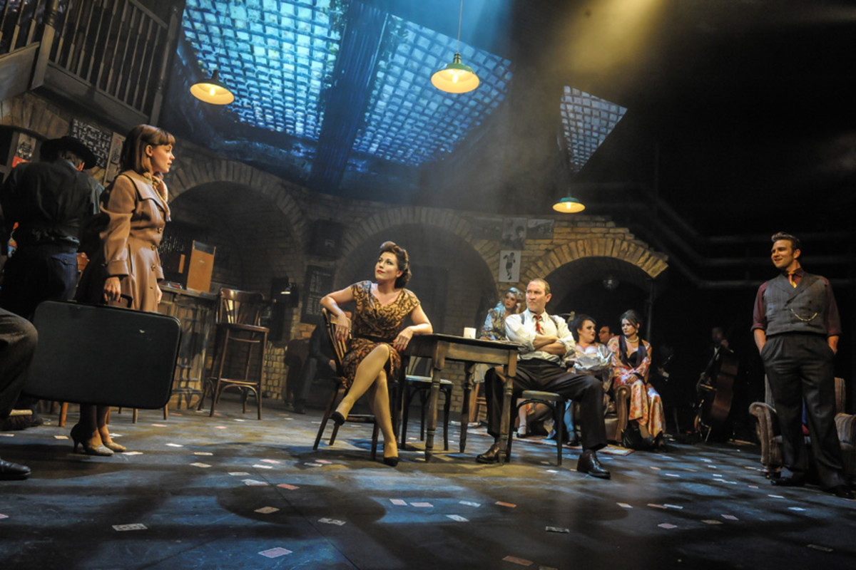 Sarah Middleton, Jessie Wallace, Mark Arden and Stefan Booth in Fings Ain't Wot They Used T'Be at the Theatre Royal Stratford East (Photo: Robert Day)