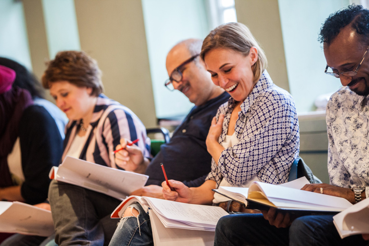 Joanna Riding in rehearsals for The Pajama Game (Photo: David McNeil)