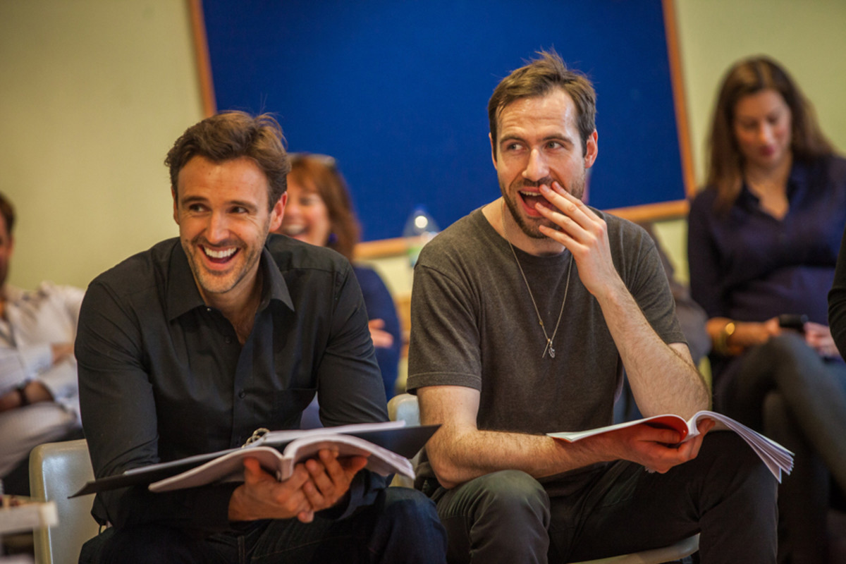 Michael Xavier and Eugene McCoy in rehearsals for The Pajama Game (Photo: David McNeil)