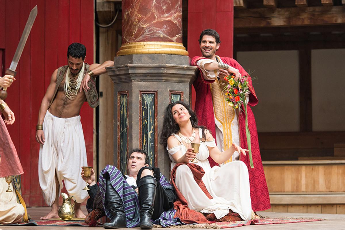 Phil Daniels, Sirine Saba and Daniel Rabin in Antony And Cleopatra at Shakespeare's Globe (Photo: Manuel Harlan)