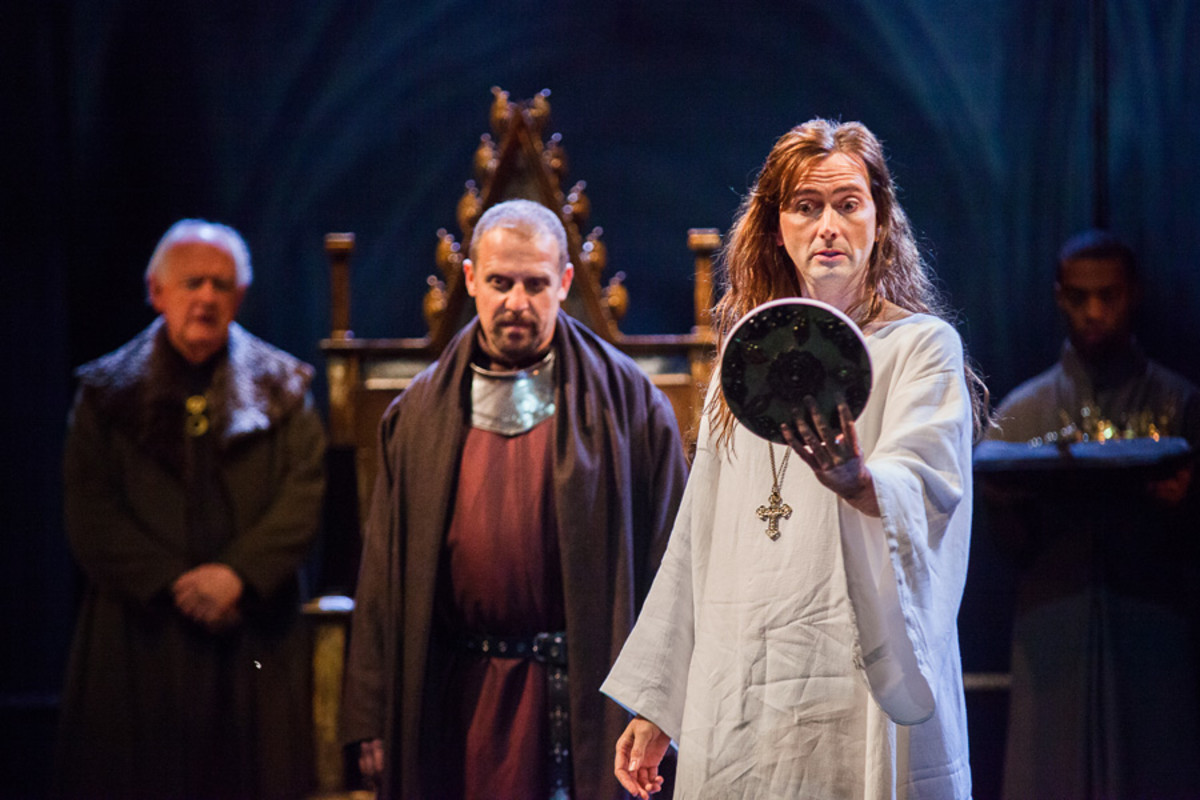 Oliver Ford Davies, Nigel Lindsay and David Tennant in the RSC's Richard II at the Barbican theatre (Photo: Kwame Lestrade)
