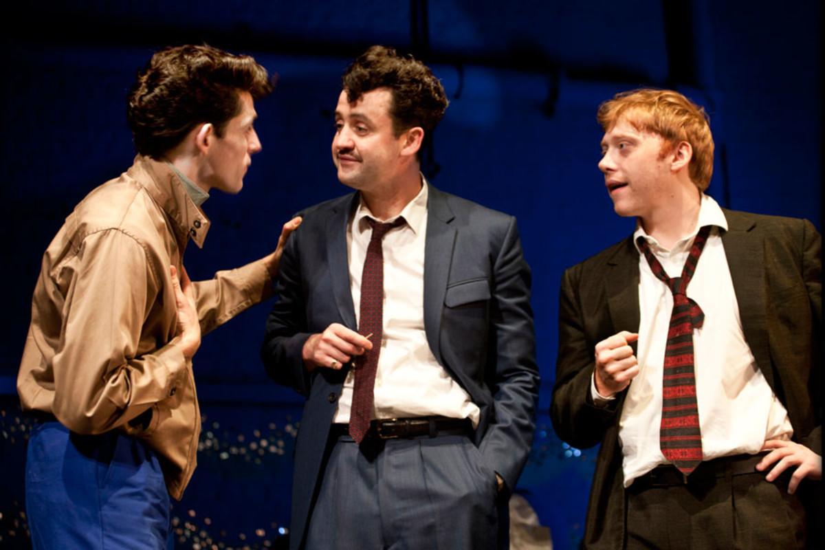 Colin Morgan, Daniel Mays and Rupert Grint star in Mojo (Photo: Simon Annand)