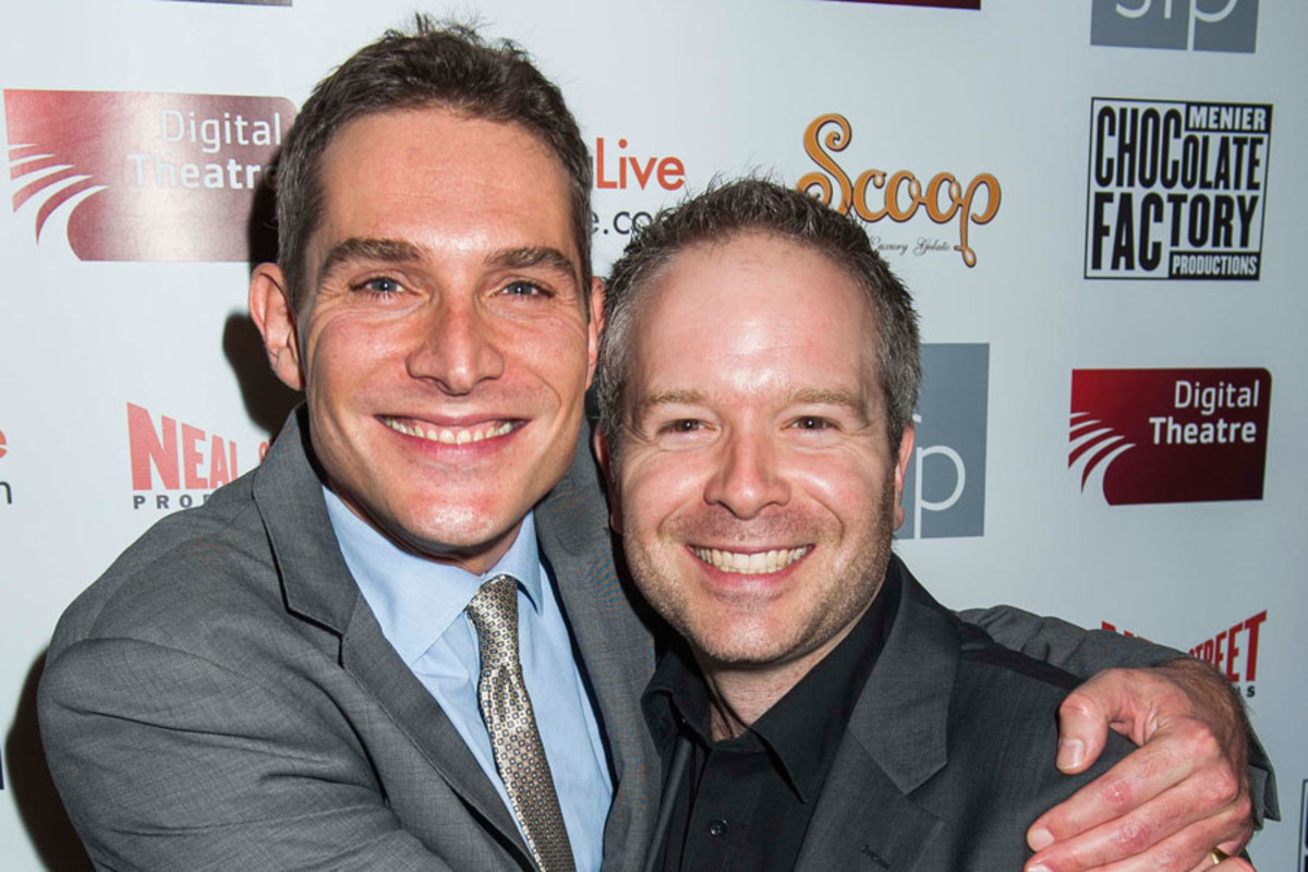 Mark Umbers and Damian Humbley at the UK premiere of Merrily We Roll Along (Photo: David Jensen)