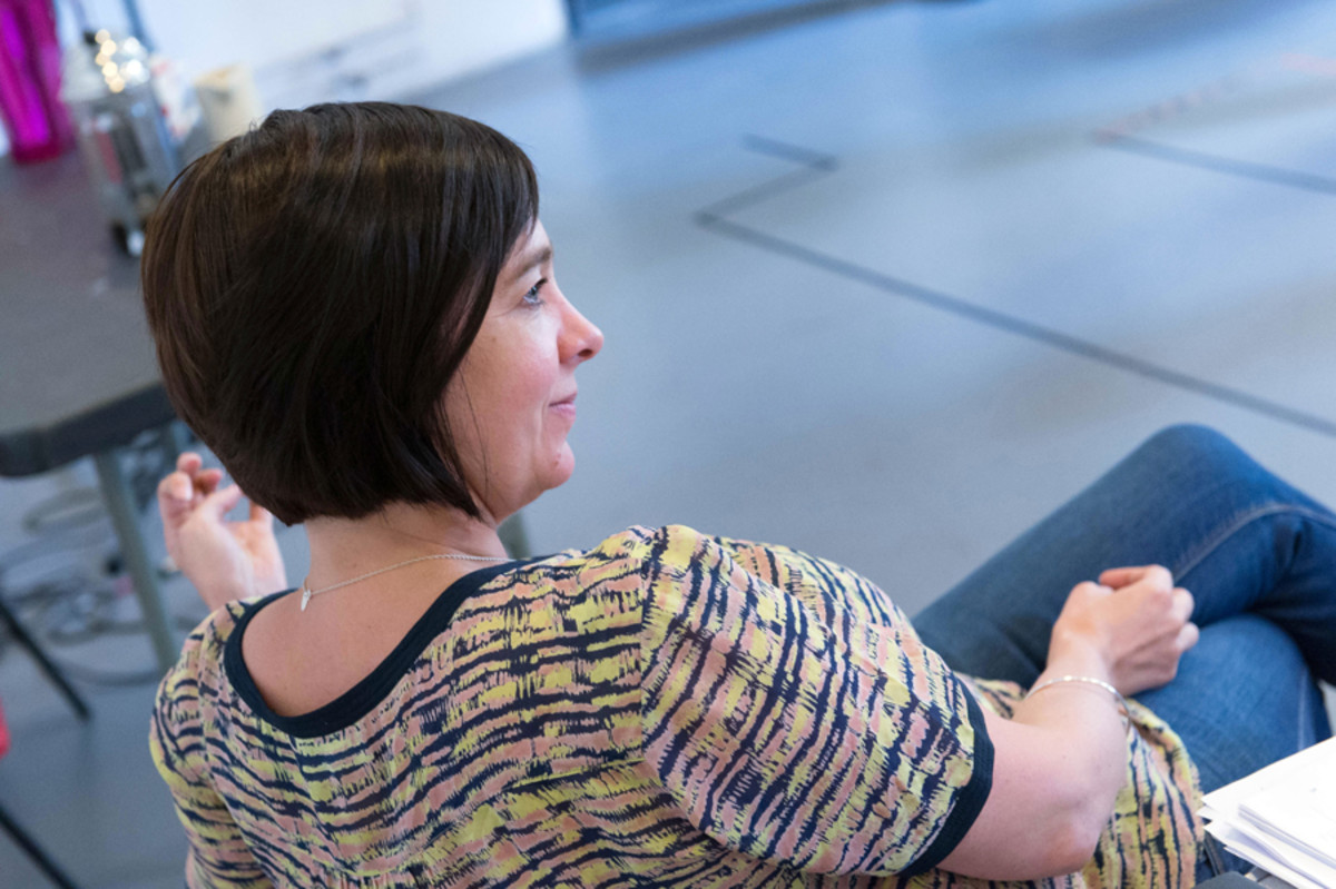 Director Vicky Featherstone in rehearsals for The Ritual Slaughter Of Gorge Mastromas (photo: Manuel Harlan)