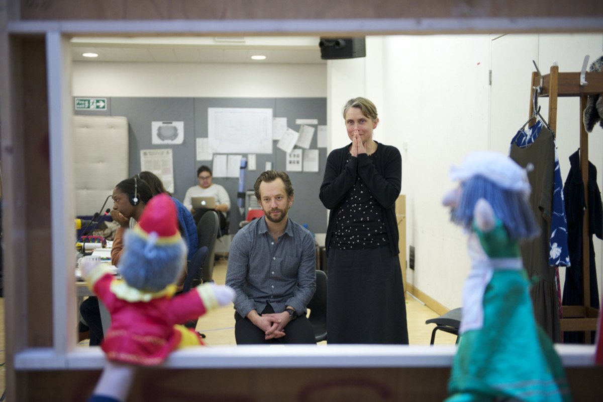 Katie Mitchell and Joseph Alford in rehearsal for The Trial Of Ubu