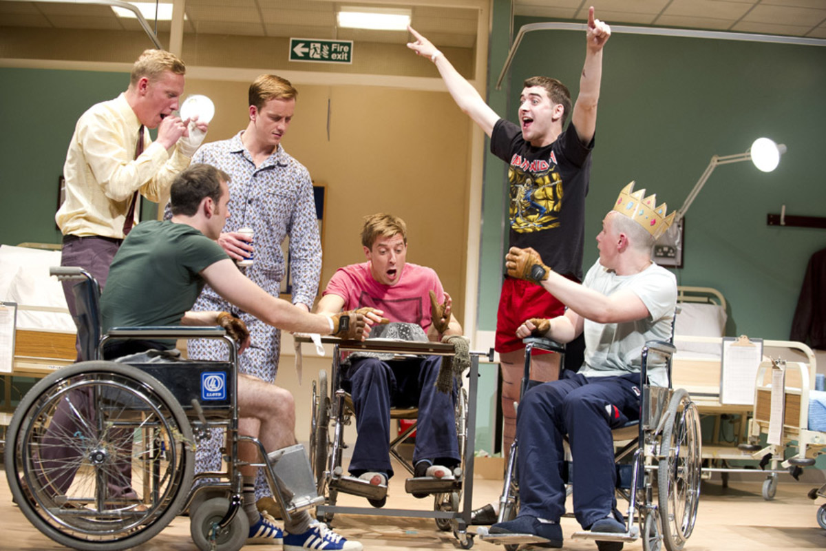 Laurence Fox, Matthew Lewis, Jolyon Coy, Arthur Darvill, Cian Barry and Lewis Reeves in Our Boys (photo: Geraint Lewis)