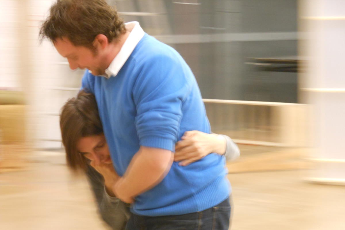 Matthew Amer takes a stage fighting lesson from Kate Waters in Damned By Despair rehearsals