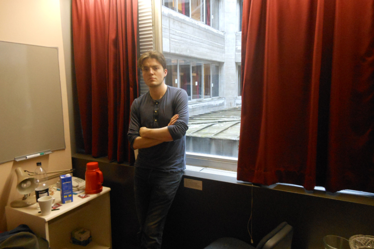 Tom Burke in his dressing room at the National Theatre