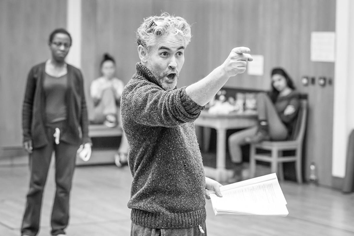 Fergal McElherron in rehearsal for The White Devil at the Sam Wanamaker Playhouse (Photo: Marc Brenner)