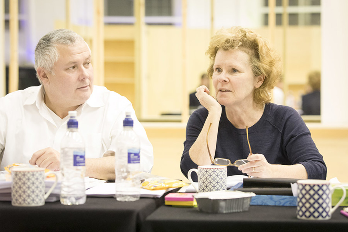 Conleth Hill and Imelda Staunton rehearse Edward Albee's Who's Afraid Of Virginia Woolf? (Photo: Johan Persson)