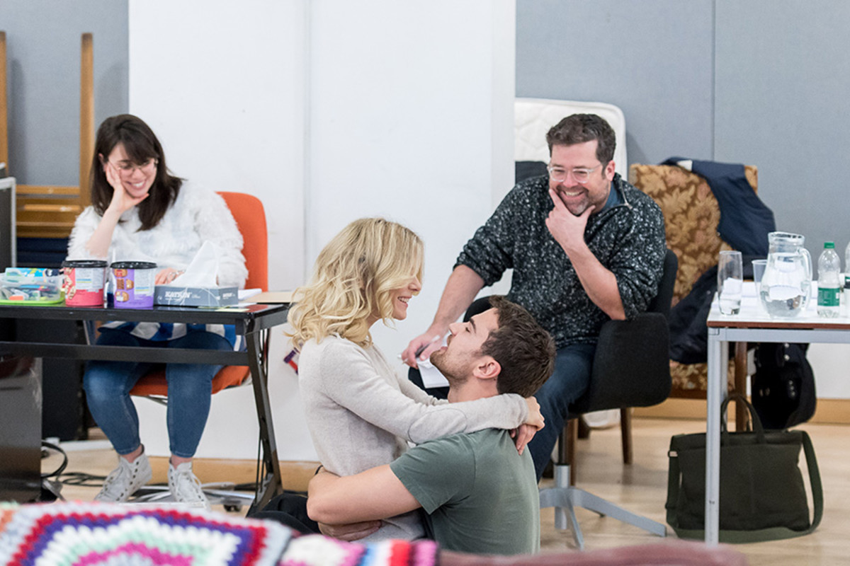 Peter DuBoisin (Director) with Emilia Fox and Theo James in rehearsal for Sex With Strangers at the Hampstead Theatre (Photo: Manuel Harlan)