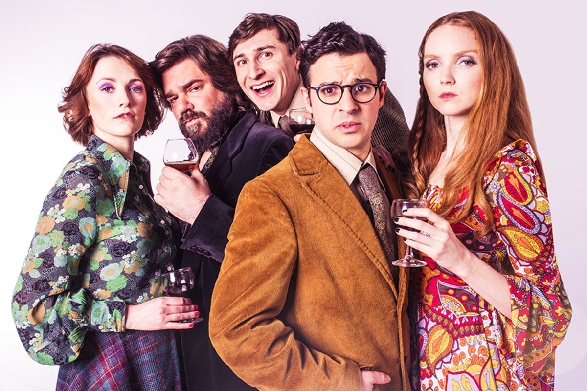 Charlotte Ritchie, Matt Berry, Tom Rosenthal, Simon Bird and Lily Cole in The Philanthropist (Photo: Shaun Webb)