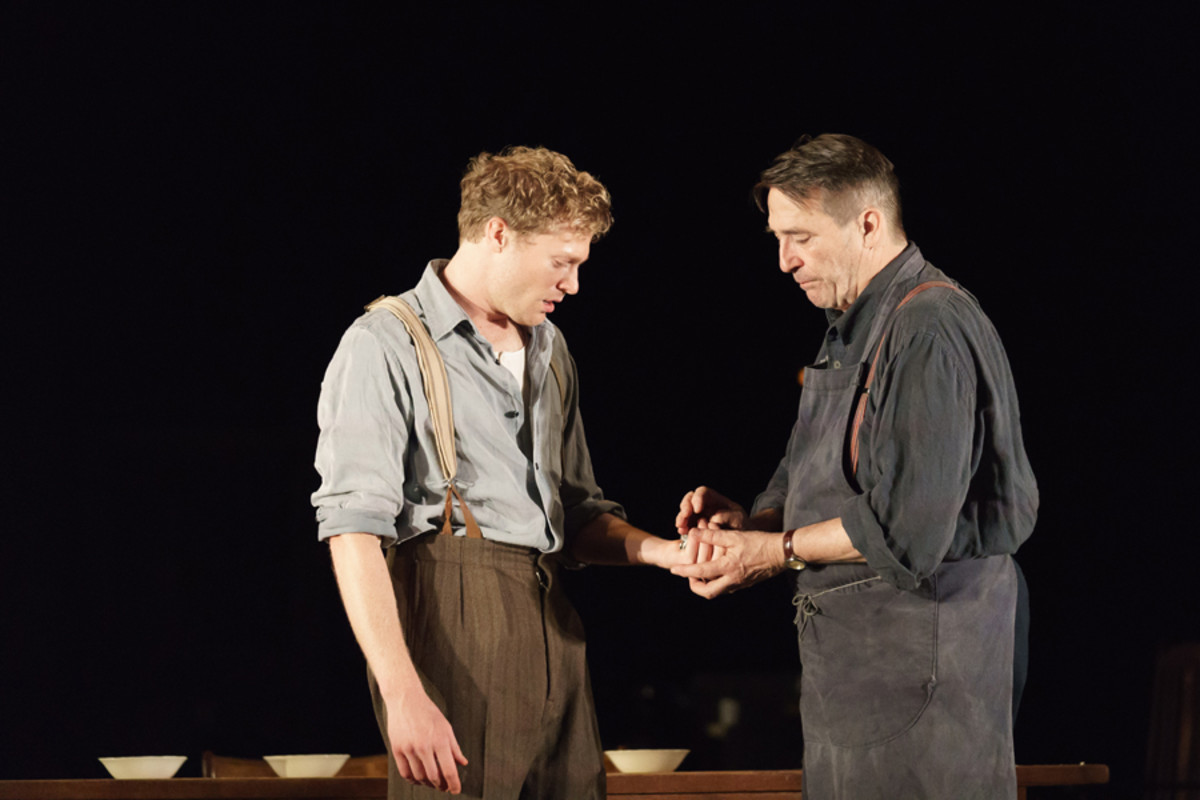 Sam Reid (Gene Laine) and Ciaran Hinds (Nick Laine) in Girl From The North Country (Photo: Manuel Harlan)