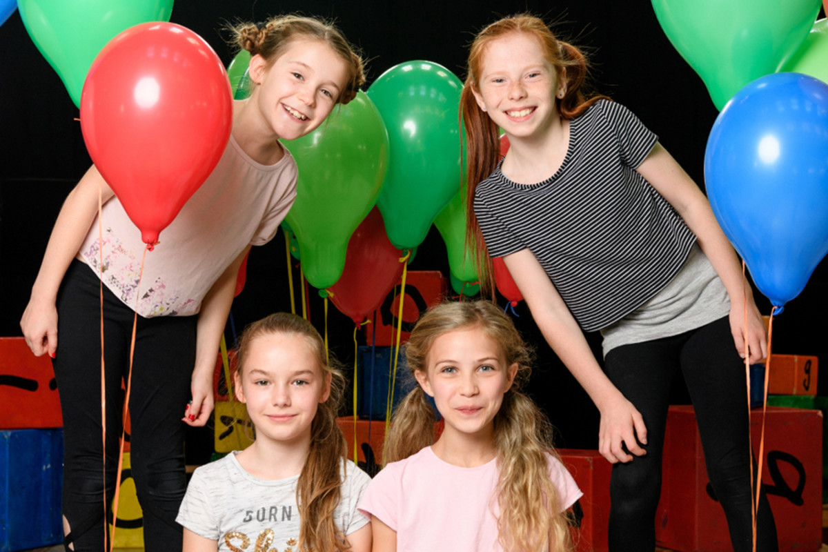 Lily-Mae Evans, Emma Moore,  Kitty Peterkin and Savannah Read star in Matilda The Musical in the West End (Photo: Manuel Harlan)