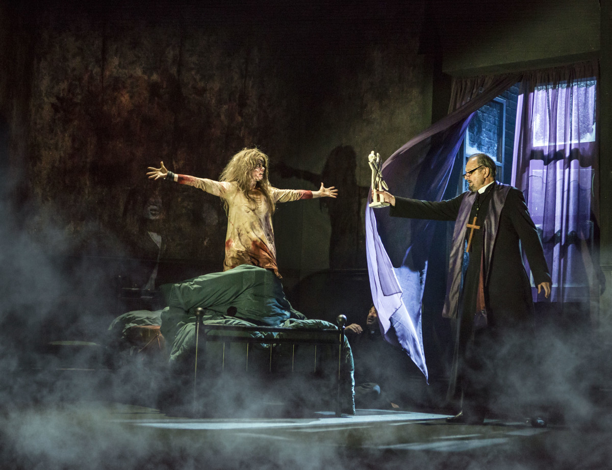 Clare Louise Connolly and Peter Bowles in The Exorcist play at the Phoenix Theatre (Photo: Pamela Raith)