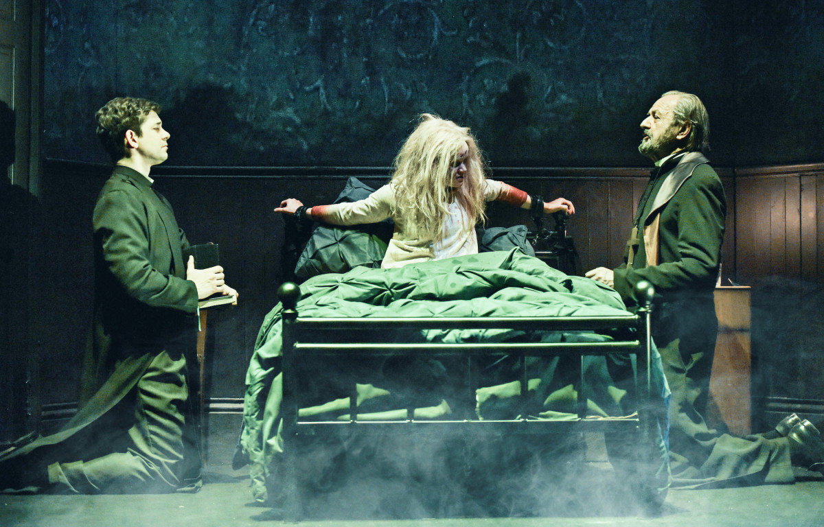 Adam Garcia, Clare Louise Connolly and Peter Bowles in The Exorcist play at the Phoenix Theatre (Photo: Pamela Raith)